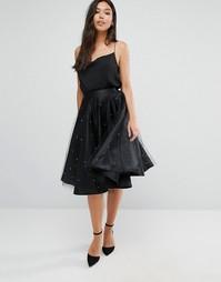 Пышная атласная юбка с верхним слоем из тюля Boohoo - Черный