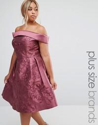 Платье миди с открытыми плечами Chi Chi London Plus - Фиолетовый