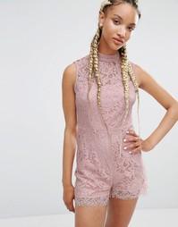 Кружевной комбинезон Pixie & Diamond - Розовый