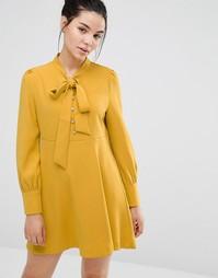 Короткое приталенное платье с бантом-завязкой Sister Jane - Желтый