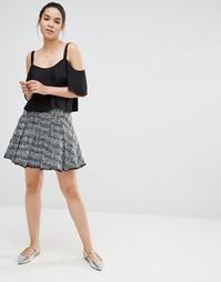 Твидовая мини-юбка Sister Jane - Синий