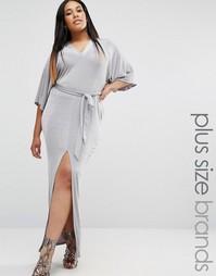 Платье макси с рукавами в стиле кимоно и поясом Missguided Plus - Серый