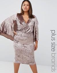 Бархатное платье миди с запахом и кейпом Club L Plus - Серый