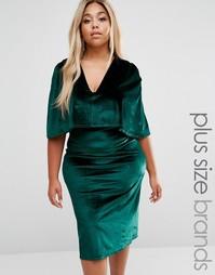 Бархатное платье миди размера плюс Club L - Зеленый