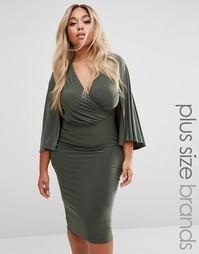Платье миди с запахом и кейпом Club L Plus - Зеленый