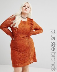 Кружевное приталенное платье с оборками Alice & You - Коричневый
