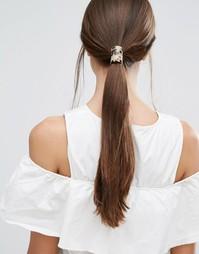 Резинка для волос c серо-коричневой пластинкой Orelia - Коричневый