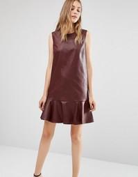 Платье без рукавов из искусственной кожи с круглым вырезом BCBG MAXAZRIA - Красный