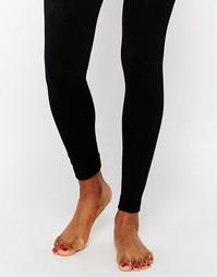 Вязаные колготки на флисовой подкладке без носка Plush - Черный