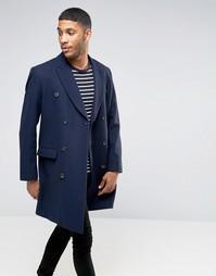 Темно-синее двубортное пальто из шерстяной смеси ASOS - Темно-синий