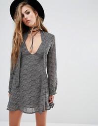 Богемное платье с завязкой на шее Lira - Черный