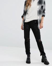 Джинсы в винтажном стиле с завышенной талией и потертостями Lira - Черный