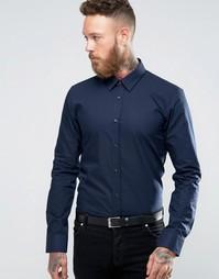 Темно-синяя узкая рубашка в строгом стиле Hugo By Hugo Boss - Темно-синий