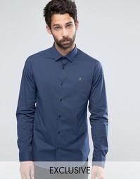 Узкая рубашка стретч в горошек Farah - Темно-синий