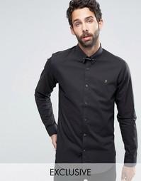 Узкая рубашка стретч с планкой на воротнике Farah - Черный