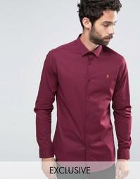 Узкая рубашка стретч в горошек Farah - Красный