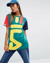 Свободная футболка бойфренда Fila - Зеленый