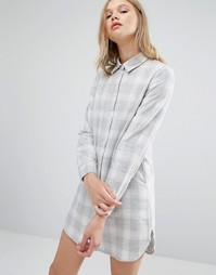 Прямое платье-рубашка в клетку Native Youth - Серый