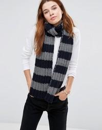 Полосатый шарф крупной вязки Hat Attack - Серый