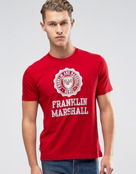 Футболка с крупным логотипом Franklin and Marshall - Красный