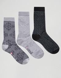 3 пары носков с кружевным узором Lovestruck - Серый