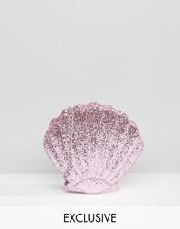 Розовая блестящая сумка в форме ракушки Skinnydip Mermaid - Розовый
