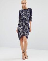 Платье-футляр с рукавами 3/4 Jessica Wright - Темно-синий