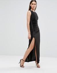 Платье макси с разрезом спереди и металлической отделкой Sistaglam - Черный