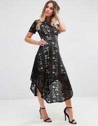 Кружевное приталенное платье миди Jessica Wright - Черный