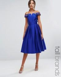 Платье для выпускного со спущенными плечами и цветочной отделкой Little Mistress Tall - Синий