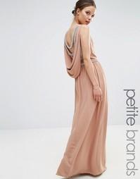 Платье макси с драпированной декорированной спинкой TFNC Petite - Бежевый