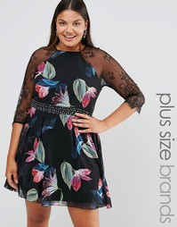 Короткое приталенное платье с принтом Little Mistress Plus - Мульти