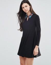 Платье-трапеция с контрастным воротником Love - Черный