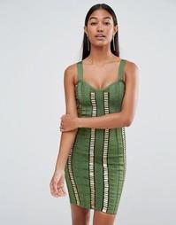 Платье с золотистыми планками WOW Couture - Зеленый