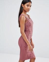 Платье с отделкой заклепками WOW Couture - Коричневый