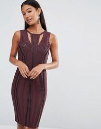 Бандажное платье с отделкой из полиуретана WOW Couture - Коричневый