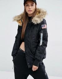 Куртка-пилот с искусственным мехом на капюшоне Alpha Industries Polar - Черный