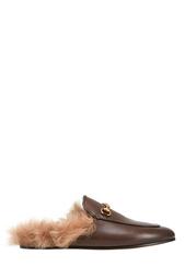 Кожаные слиперы с мехом Gucci