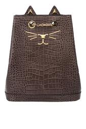 Рюкзак из лакированной кожи Feline Bucket Bag Charlotte Olympia