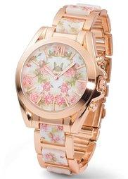 Металлические часы с цветочным мотивом (черный/серебристый) Bonprix
