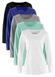 Удлиненная футболка (5 шт.) (серо-синий/темно-коричневый/бе) Bonprix