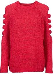 Вязаный пуловер с разрезами (черный) Bonprix