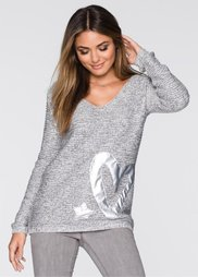 Пуловер (серый/белый меланж) Bonprix