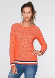 Пуловер (мандариново-красный/белый/темн) Bonprix