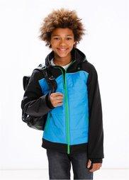 Модная куртка-софтшелл с капюшоном, Размеры  116/122-164/170 (черный/бирюзовый) Bonprix