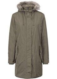Пальто со съемным капюшоном и опушкой из искусственного меха (черный) Bonprix
