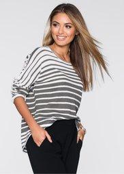 Пуловер (серо-коричневый/белый в полоск) Bonprix