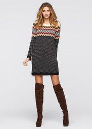 Вязаное платье (черный/кремовый/красный) Bonprix