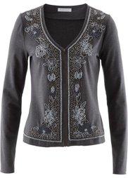 Трикотажная куртка с вышивкой бисером (бурый меланж) Bonprix