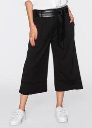 Широкие брюки с поясом (черный) Bonprix